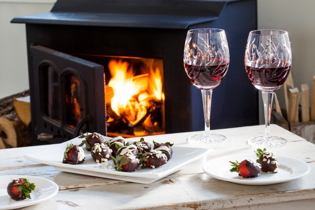 Wine and chocolate covered strawberries by the fireside at Oceanstone