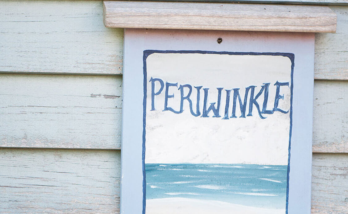 Handpainted Periwinkle sign